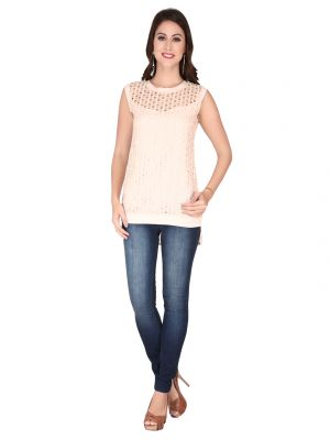 Buy Soie L.Peach Lace Fabric, Georgette Top For Women online