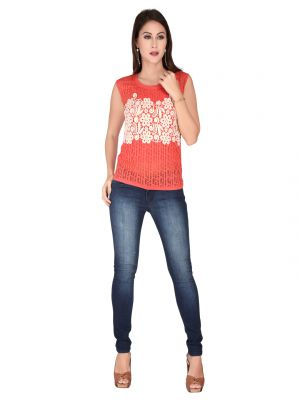 Buy Soie Dark Peach Imported Burnt Out Knit, Embroidered Gold Print Fabric Top For Women online