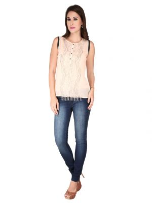 Buy Soie L.Peach Georgette, Lace Fabric Top For Women online