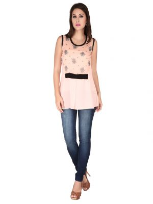 Buy Soie Pink Printed Georgette Top For Women online