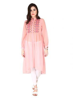 Buy Soie Rose Pink Sheer Georgette Tunic For Women (code - 6184rose_pink) online