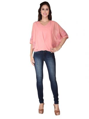 Buy Soie Rose Pink Imported Embossed, Georgette Top For Women (code - 6148_i_rose_pink) online
