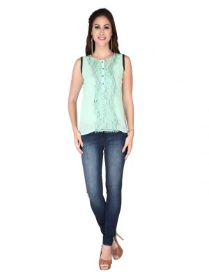 Buy Soie Pista Green Georgette, Lace Fabric Top For Women online