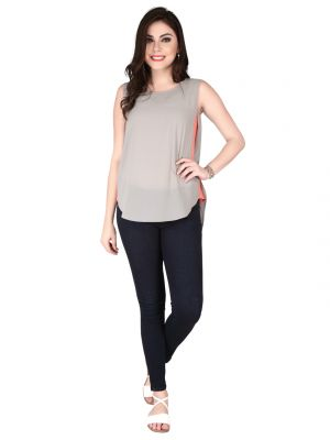 Buy Soie Grey Structured Heavy Imported Georgette Top For Women online