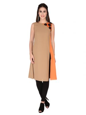 Buy Soie Brown Moss Georgette Tunic For Women online