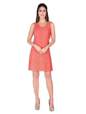 Buy Soie Peach Lace Fabric, Embroidered Fabric Dress For Women online