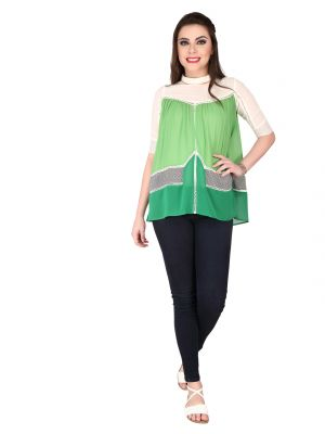 Buy Soie Light Green Georgette Top For Women online
