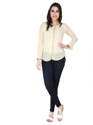 Buy Soie Off White Georgette , Nylon Lycra Top For Women online