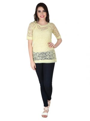Buy Soie Yellow Embroidered Fabric, Georgette Top For Women online