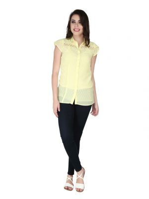 Buy Soie Pale Yellow Georgette, Lace Fabric Top For Women online