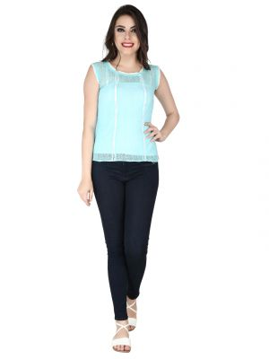 Buy Soie Sky Blue Lace Fabric Top For Women online