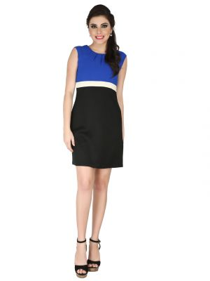 Buy Soie Blue Crepe, Poly Lycra Dress For Women online
