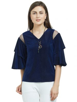 Buy SOIE Women's Layered Sleeves Top Polyester and  Spandex online