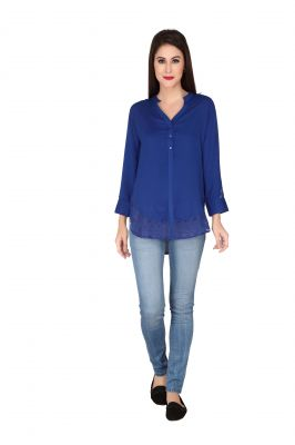 Buy Soie Ink Blue Rayon, Lace Fabric Top For Women online