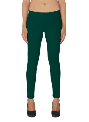 Buy Soie White Solid Leggings_Green online