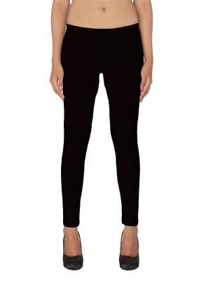 Buy Soie White Solid Leggings_Navy Blue online
