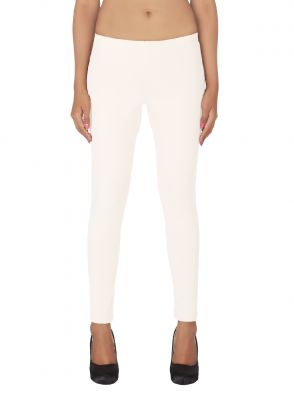 Buy Soie White Solid Leggings_White online