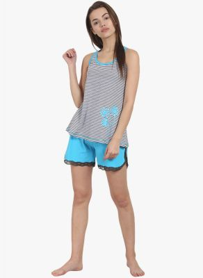Buy Soie Womens Stripes Shorts Tee Set - (code - Nt-49blue Alot) online