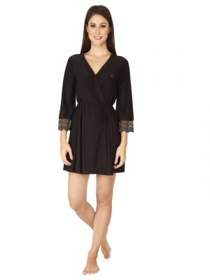 Buy Soie Black Nylon Spandex Sleepwear For Women online
