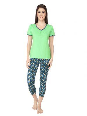 cfd3fa672f Buy Soie Multicolor Cotton Spandex Night Suit For Women Online ...