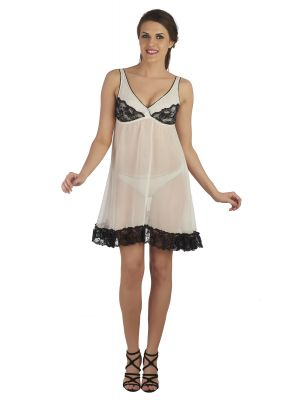 Buy Soie Ivory 100% Polyster Sleepwear For Women online