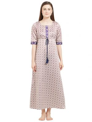 Buy Soie Women's All Over Printed Maxi With Printed Placket And Adjustable Waist Drawcord (code - Nt-65apricot) online