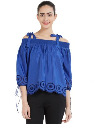 Buy Soie Women's Gathered Top (code - Ol-03blue) online