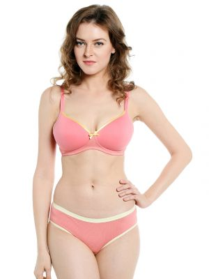 Buy Soie Everyday Non Wired Organic Cotton Padded Bra And Matching Panty (code - Set 112+1112candy Floss) online