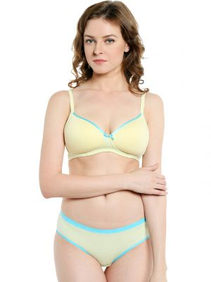 Buy Soie Everyday Non Wired Organic Cotton Padded Bra And Matching Panty (code - Set 112+1112) online