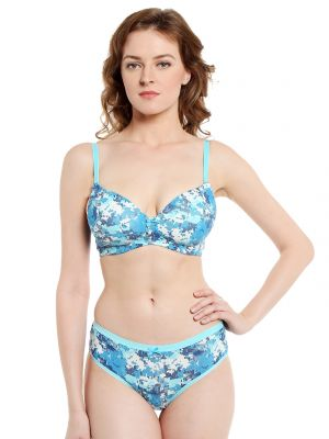 Buy Soie Pixalated Print Non Wired Organic Cotton Padded Bra And Matching Panty (code - Set 114+1114p-4) online