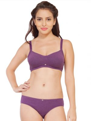 Buy Soie Cotton Spandex Bra With Matching Panty (code - Set 314+1314purple Melange) online