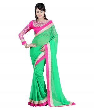 Buy Fabkaz Women Chiffon Green Colour Embroidey Designer Saree - (code - Fks016) online