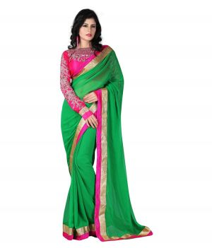 Buy Fabkaz Women Chiffon Green Colour Embroidey Designer Saree - (code - Fks021) online