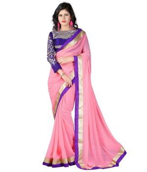 Buy Fabkaz Women Chiffon Pink Colour Embroidey Designer Saree online