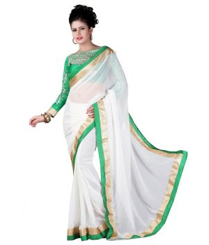 Buy Fabkaz Women Chiffon White Colour Embroidey Designer Saree online