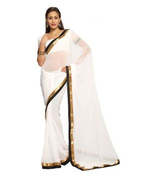 Buy Fabkaz Women Georgette White Colour Lace Border Work Designer Saree - (code - Fks043) online