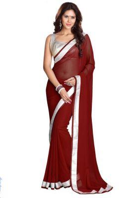 Buy Fabkaz Women Chiffon Brown Colour Lace Broder Work Designer Saree - (code - Fks066) online