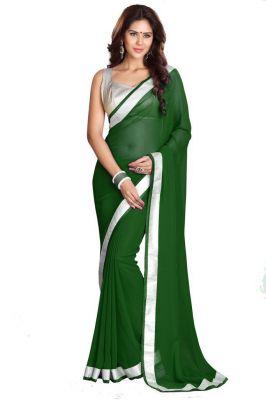 Buy Fabkaz Women Chiffon Green Colour Lace Broder Work Designer Saree - (code - Fks067) online