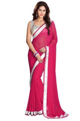 Buy Fabkaz Women Chiffon Pink Colour Lace Broder Work Designer Saree - (code - Fks068) online