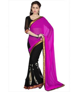 Buy Fabkaz Women Chiffon Red Colour Lace Broder Work Designer Saree online