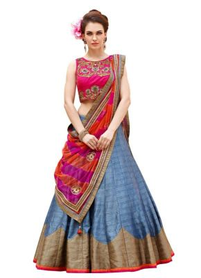 Buy Khantil Pink And Gray Baglori Silk Lehenga Choli online