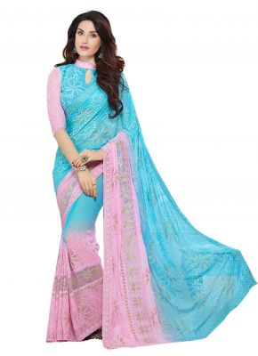 Buy Sky Blue Embroidered Chiffon Saree With Blouse (kms207-9005) online