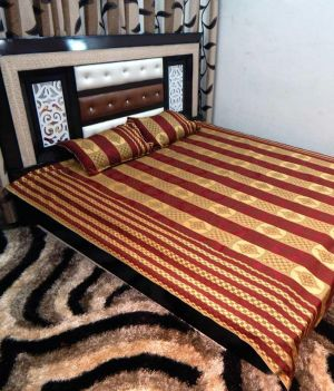 Buy Peponi Multicolour Silk Double Bed Cover With 2 Pillow Covers online