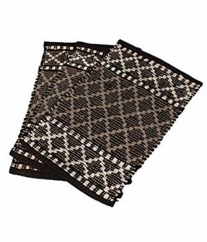 Buy Peponi Grey Color Cotton Hand Woven Door Mat Set Of 3 online