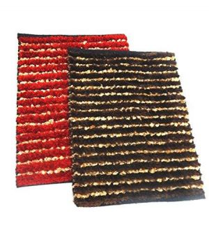 Buy Peponi Multicolor Silk/cotton Hand Woven Door Mat Set Of 2 online