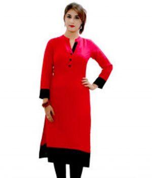 Buy Kuber Women's A-line Plain Collar Neck 3/4 Sleeve Red Cotton Plain Kurti (product Code - A_34) online