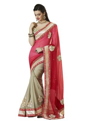 Buy Vipul Heavy Embroidered Blouse With Half & Half Art Silk Saree online