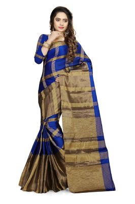 Buy Ruchika Fashion Women's Cotton Silk Saree With Blouse Piece Material.(code-aashiqee_royalblue) online