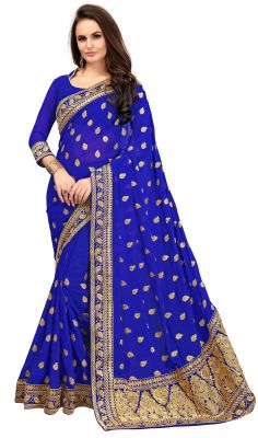 Buy Ruchika Fashion Women's Embroidered Georgette Saree With Blouse Piece.(code-bluevely) online