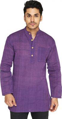 Buy Ecostyle Cotton Mangalagiri Plain Purple Coloured Men's Ethnic Kurta online